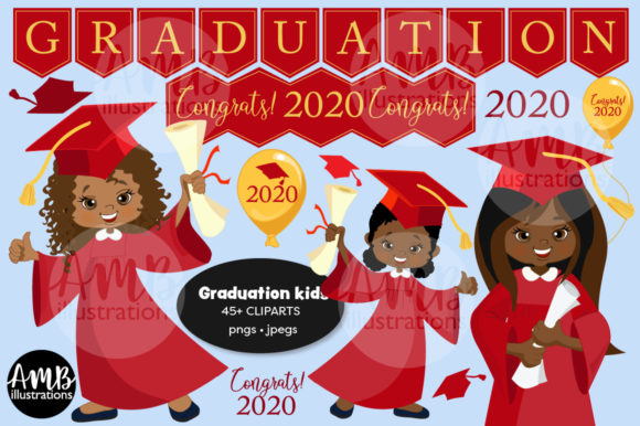 Graduation Kids in Red Gown Clipart 2783 Grafik Illustrationen von AMBillustrations