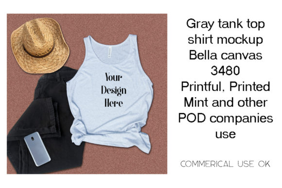 Print on Demand: Gray Tank Top Shirt Mockup Graphic Product Mockups By A Design in Time