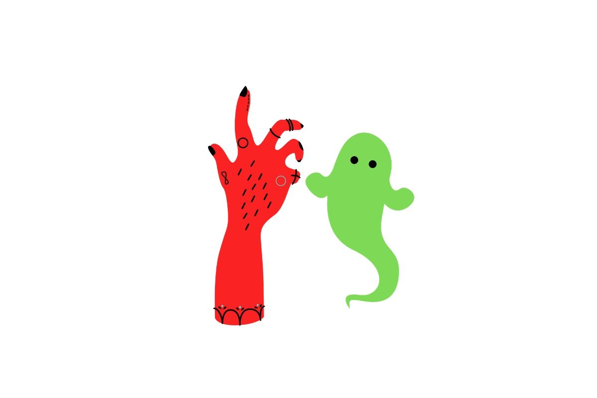 Download Free Green Ghost Red Hand Halloween Craft Graphic By Creative Arts for Cricut Explore, Silhouette and other cutting machines.