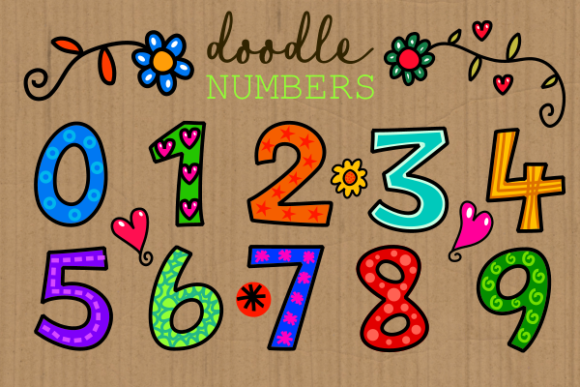Print on Demand: Hand Drawn Doodle Numbers Folk Art Graphic Illustrations By Prawny - Image 1