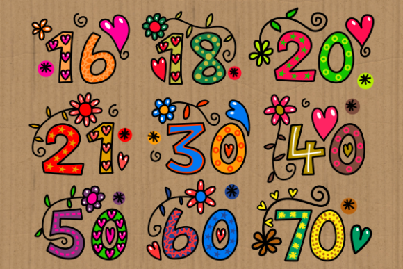 Print on Demand: Hand Drawn Doodle Numbers Folk Art Graphic Illustrations By Prawny - Image 2