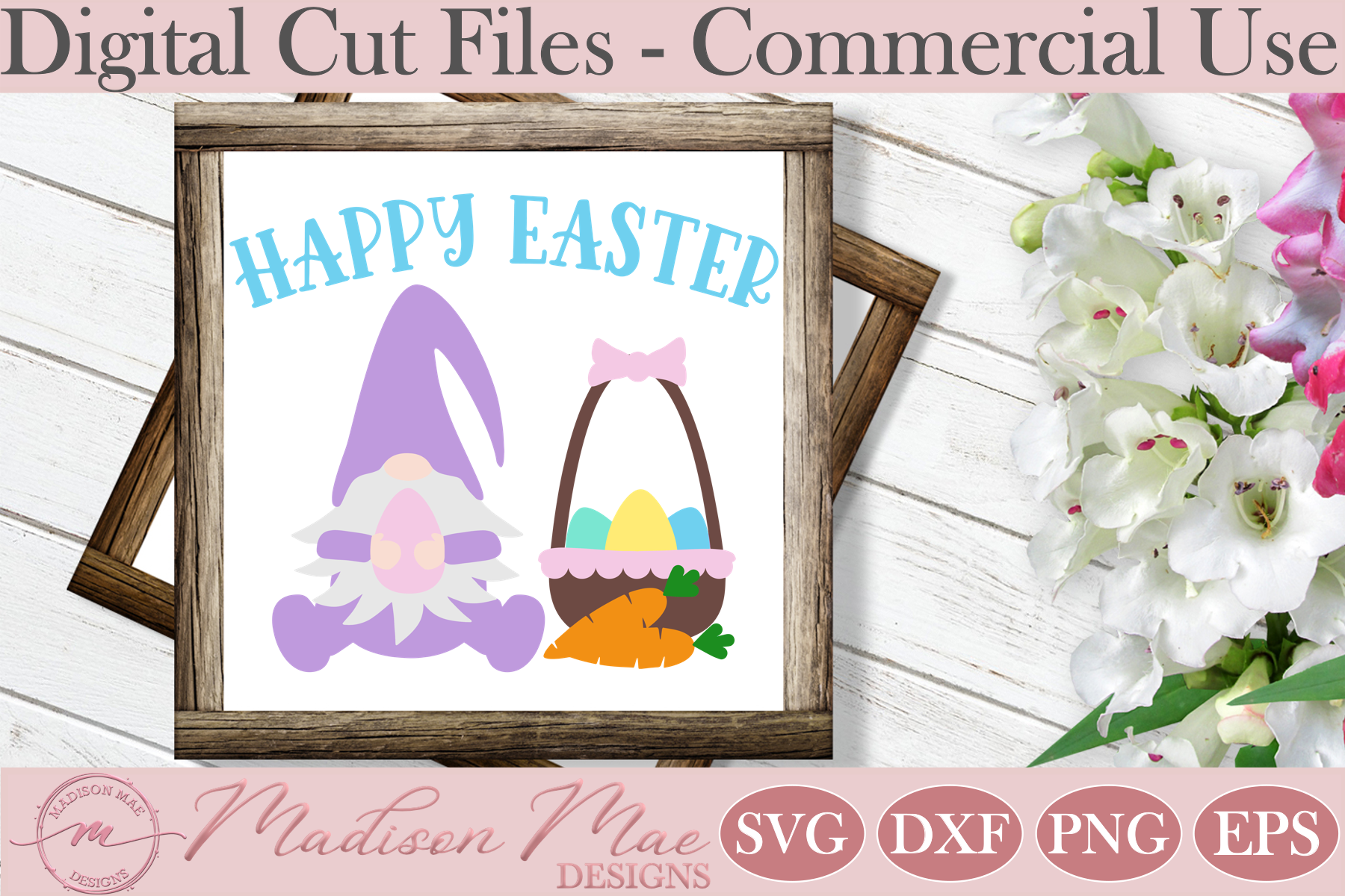 Download Free Happy Easter Gnome With Basket Graphic By Madison Mae Designs for Cricut Explore, Silhouette and other cutting machines.