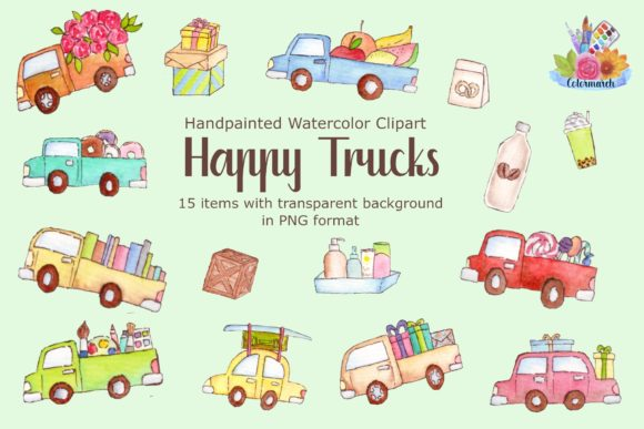 Happy Truck Cartoon Watercolor Clipart Graphic Illustrations By Colormarch