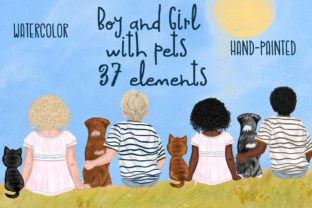 Print on Demand: Kids with Pets Cute Kids Clipart Graphic Illustrations By vivastarkids