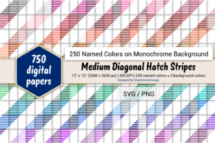 Print on Demand: Med Diag Hatch Stripes Paper - 250 Colors Graphic Backgrounds By SmartVectorDesign