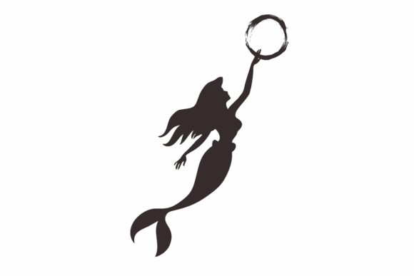 Download Free Mermaid Silhouette Graphic By Widyaav Creative Fabrica for Cricut Explore, Silhouette and other cutting machines.