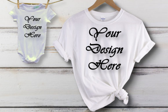 Mockup Baby Matching T-shirt, Family Graphic Product Mockups By MockupsByGaby - Image 1