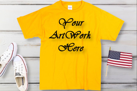 Mockup Yellow Gildan T-shirt Graphic Product Mockups By MockupsByGaby