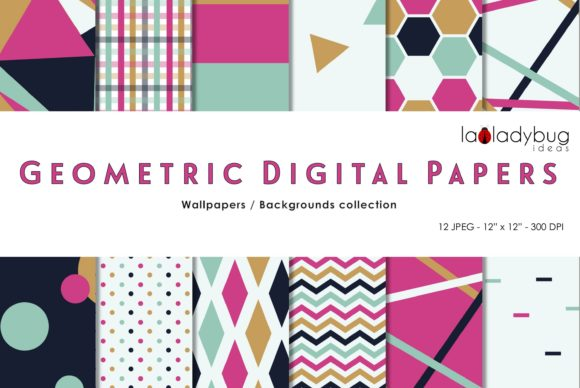 Multicolor Triangles Digital Papers Graphic Patterns By LaLadybugIdeas