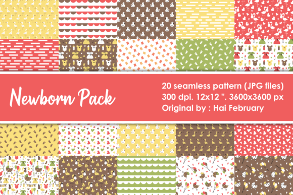 Print on Demand: Newborn Baby Digital Seamless Pattern Graphic Patterns By haifebruary