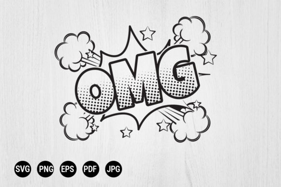 Download Free Omg Comic Speech Bubble Graphic By 99 Siam Vector Creative Fabrica for Cricut Explore, Silhouette and other cutting machines.