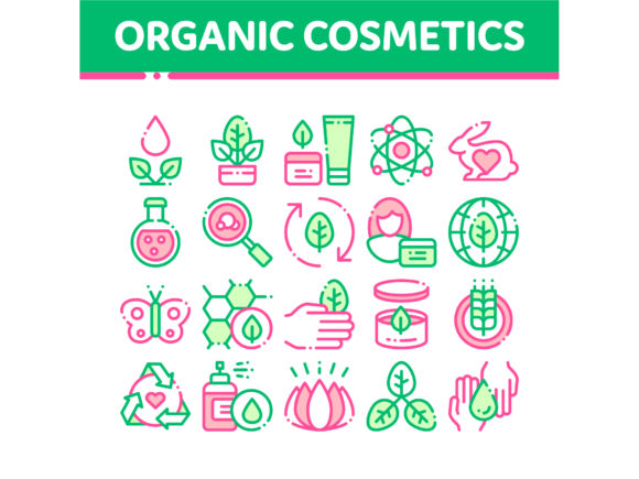 Organic Cosmetics Vector Thin Line Icons Graphic Icons By pikepicture