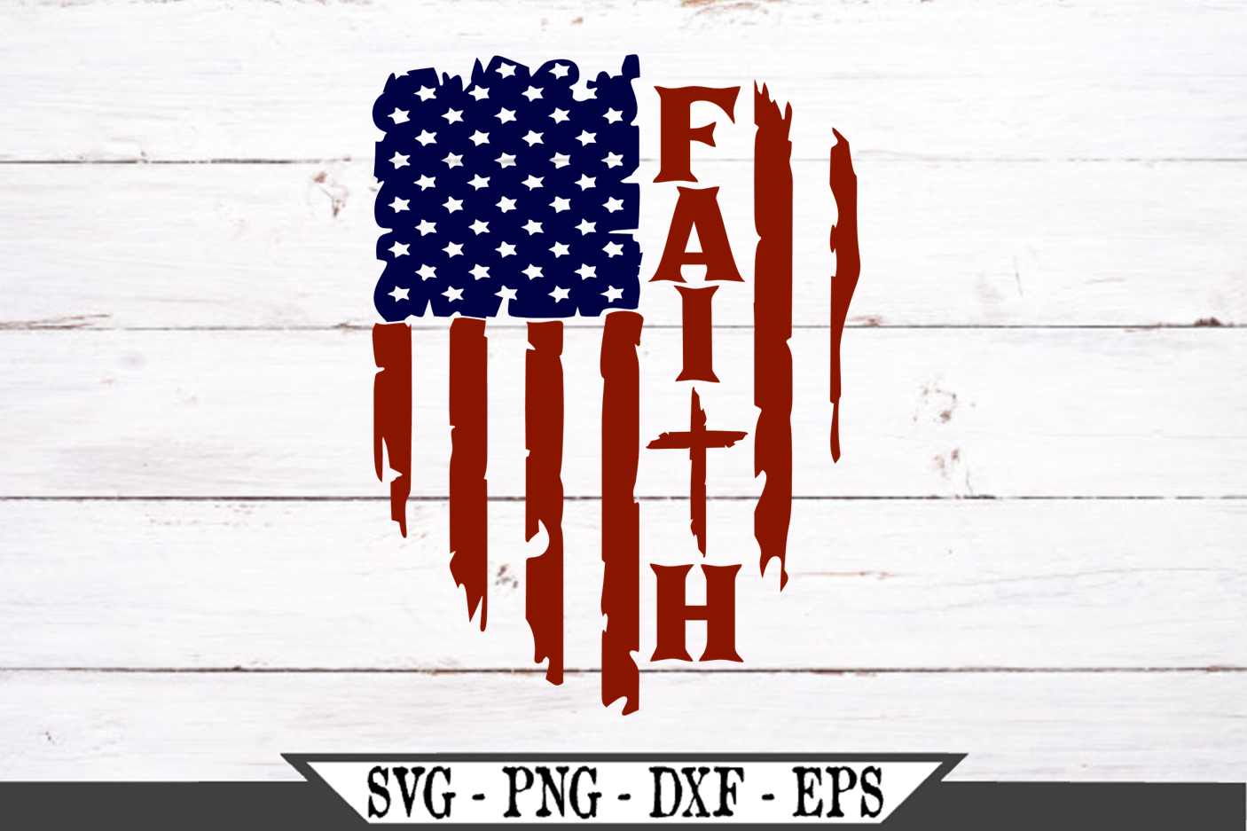 Patriotic American Flag with Faith SVG File