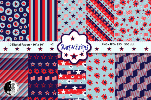 Patriotic Stars & Stripes Digital Papers Graphic Patterns By LIQUEStudio