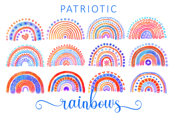 Print on Demand: Patriotic Watercolor July Fourth Rainbow Graphic Illustrations By Prawny