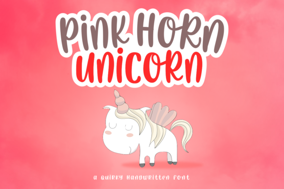 Print on Demand: Pink Horn Unicorn Script & Handwritten Font By deedeetype - Image 1