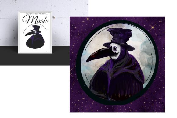 Plague Doctor Portrait in Violet Graphic Illustrations By mamamagpie