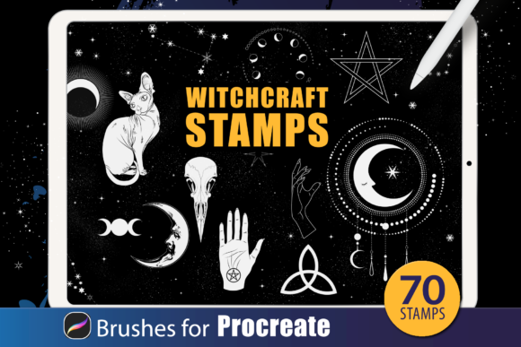 Download Free Procreate Brushes Moon And Stars Graphic By Dibrush Creative for Cricut Explore, Silhouette and other cutting machines.
