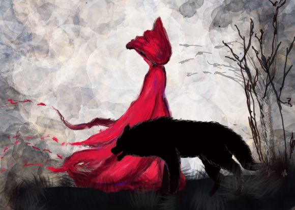 Red Riding Hood and Big Bad Wolf Duo Graphic Illustrations By mamamagpie