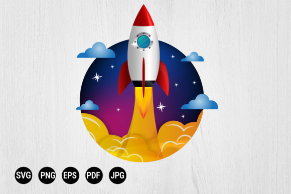 Print on Demand: Rocket Horizontal Space Start Up Graphic Print Templates By 99 Siam Vector