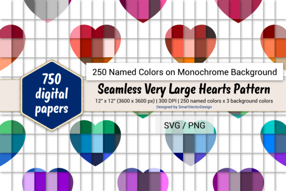 Download Free Seamless Huge Hearts Paper 250 Colors Graphic By for Cricut Explore, Silhouette and other cutting machines.