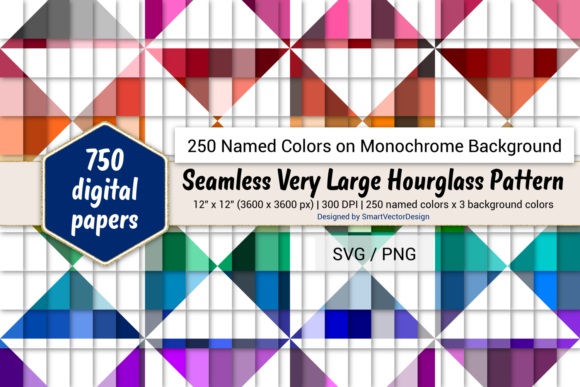 Download Free Seamless Huge Hourglass Paper 250 Colors Graphic By for Cricut Explore, Silhouette and other cutting machines.