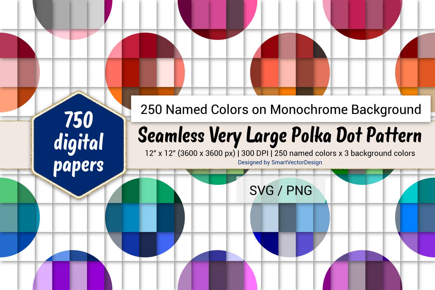 Download Free Seamless Huge Polka Dot Paper 250 Colors Graphic By for Cricut Explore, Silhouette and other cutting machines.