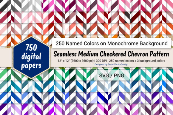Print on Demand: Seamless Med Checkered Chevron - 250 Colors Graphic Backgrounds By SmartVectorDesign