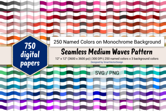 Print on Demand: Seamless Medium Waves Paper - 250 Colors Graphic Backgrounds By SmartVectorDesign