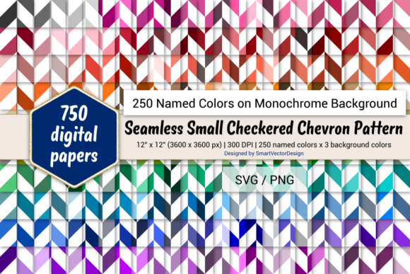 Print on Demand: Seamless Sm Checkered Chevron - 250 Colors Graphic Backgrounds By SmartVectorDesign