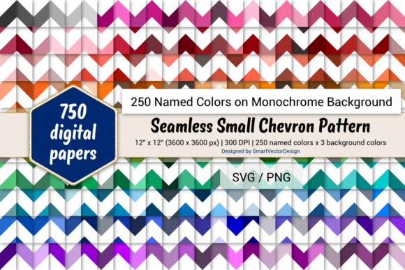 Print on Demand: Seamless Small Chevron Paper - 250 Colors Graphic Backgrounds By SmartVectorDesign
