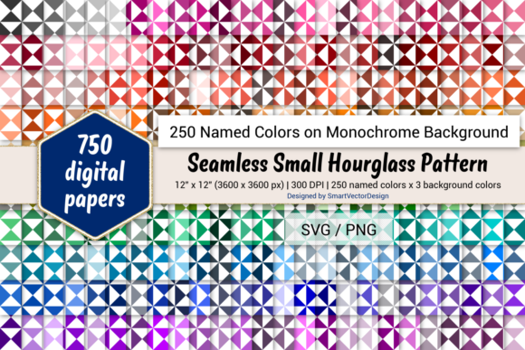 Print on Demand: Seamless Small Hourglass Paper - 250 Colors Graphic Backgrounds By SmartVectorDesign