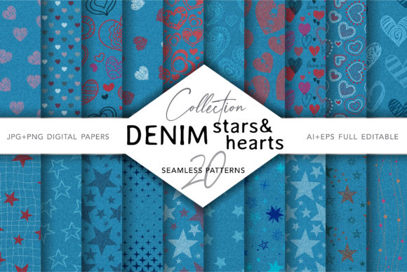 Set of Denim with Hearts & Stars Prints Gráfico Moldes Por digitalEye