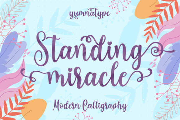 Print on Demand: Standing Miracle Script & Handwritten Font By Yumna_Type