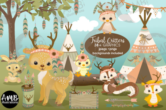 Tribal Critters 2772 Graphic Illustrations By AMBillustrations