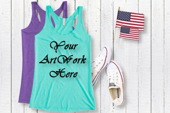 Undershirt Tahiti Blue Tank Top Mockup Graphic Product Mockups By MockupsByGaby