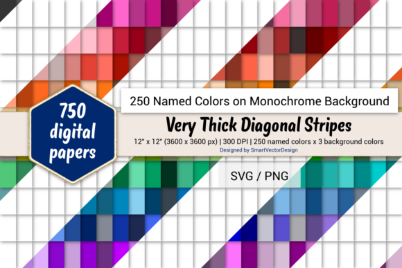 Download Free Very Thick Diag Stripes Paper 250 Colors Graphic By for Cricut Explore, Silhouette and other cutting machines.