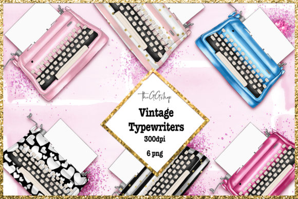 Print on Demand: Vintage Typewriters Clipart Set Graphic Illustrations By TheGGShop - Image 1
