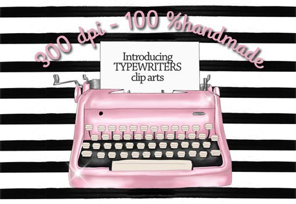 Print on Demand: Vintage Typewriters Clipart Set Graphic Illustrations By TheGGShop - Image 2