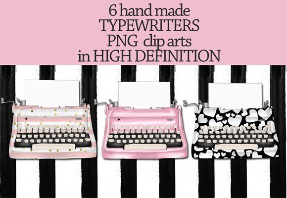 Print on Demand: Vintage Typewriters Clipart Set Graphic Illustrations By TheGGShop - Image 3