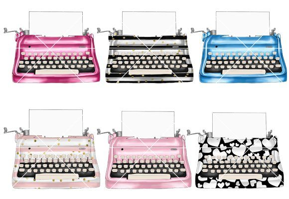Print on Demand: Vintage Typewriters Clipart Set Graphic Illustrations By TheGGShop - Image 4