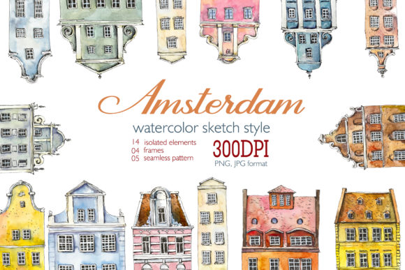 Watercolor Amsterdam Grafik Illustrationen von Мария Кутузова