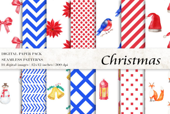 Watercolor Christmas Digital Papers Graphic Patterns By BonaDesigns