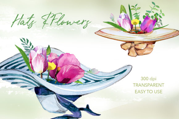 Watercolor Hats & Flowers Designs Graphic Illustrations By artcreationsdesign