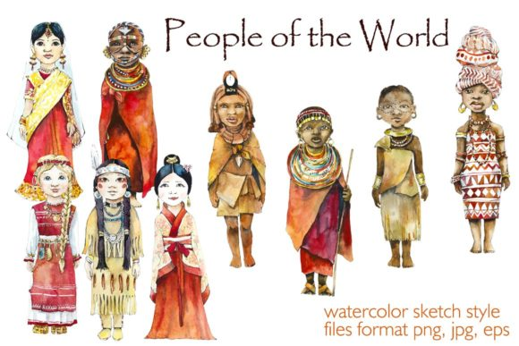 Watercolor People of the World Graphic Illustrations By Мария Кутузова
