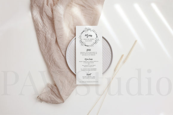 Download Free Wedding Greeting Card Menu Mockup Grafico Por Pawmockup for Cricut Explore, Silhouette and other cutting machines.
