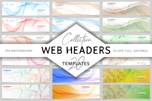20 Colored Abstract Web Headers Template Graphic Presentation Templates By digitalEye