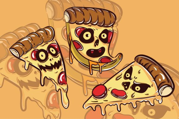 Print on Demand: 3 Pack of Pizza Monster Character Graphic Illustrations By belangbiru
