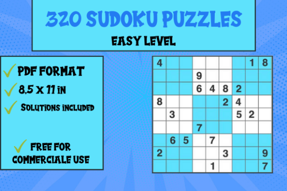 Print on Demand: 320 Sudoku Grid Easy Level 9X9 Graphic KDP Interiors By Papeterie Bleu