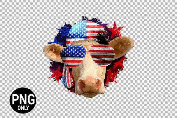 Print on Demand: 4th of July Cow Graphic Print Templates By 99 Siam Vector